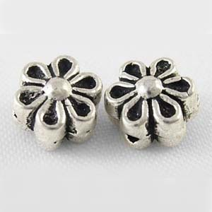 MEB12-2 - flower bead - silver