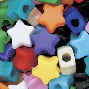 PB-ST S-M1 - star pony beads - opaque mixed colours