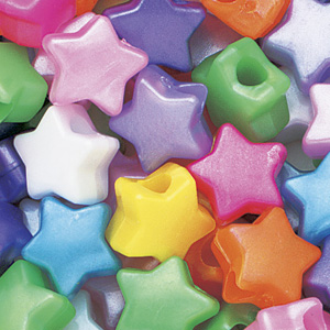 PB-ST P-M5 - star pony beads - pearl mixed colours