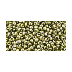 SB11JT-457 - Toho size 11 seed beads - gold lustred green tea