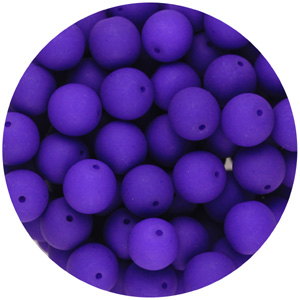 GBSR08-96 - round pressed glass beads - neon purple