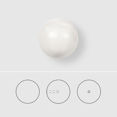 5818 10mm 001 969 - Swarovski 10mm crystal half-drilled pearls - crystal pearlescent white
