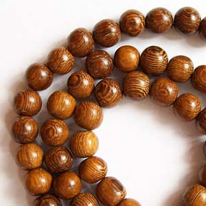EWR6-R exotic wooden beads, round - Robles