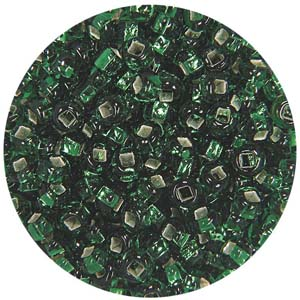 SB10-16 Preciosa Czech seed beads - silver lined emerald green