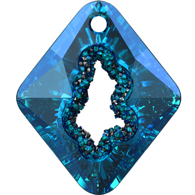 6926 36mm CETT Swarovski growing crystal rhombus pendant - crystal transparent effects