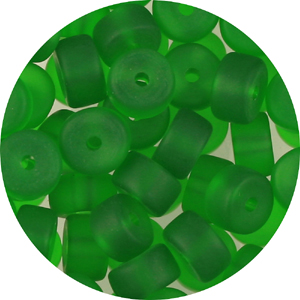 GB245F std cols - rondelle pressed frosted glass beads - standard colours