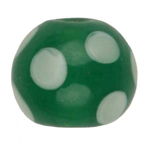 GB276-3 Indian glass lamp bead, spotted round - green