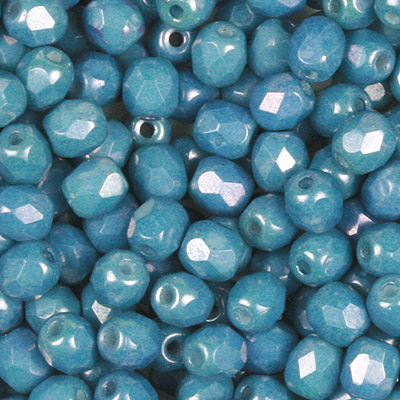 GB7-354 Czech fire-polished beads - chalk blue lustre