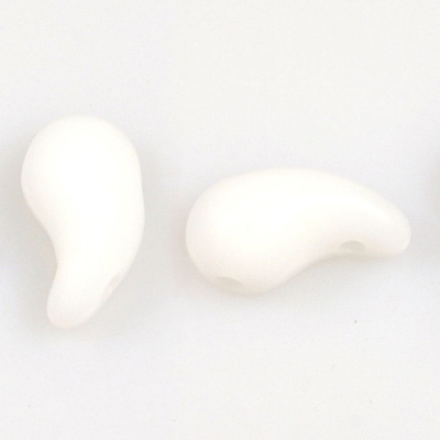 GBZOL-2-L Czech Zoliduo Beads - white alabaster: left version