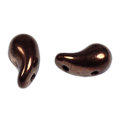 GBZOL-271-L Czech Zoliduo Beads - jet bronze: left version