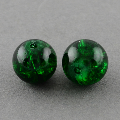 GBCR04-11 glass crackle beads - emerald