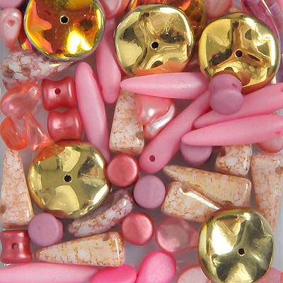 GPBS-7 pressed glass bead special mixes - pink