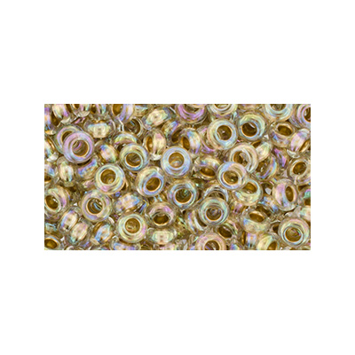 SB6JTD-994 Toho size 6 demi-round seed beads - gold-lined crystal rainbow